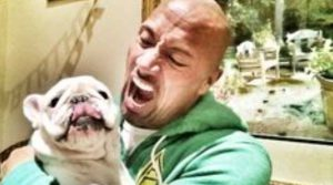dwayne johnson with his dog