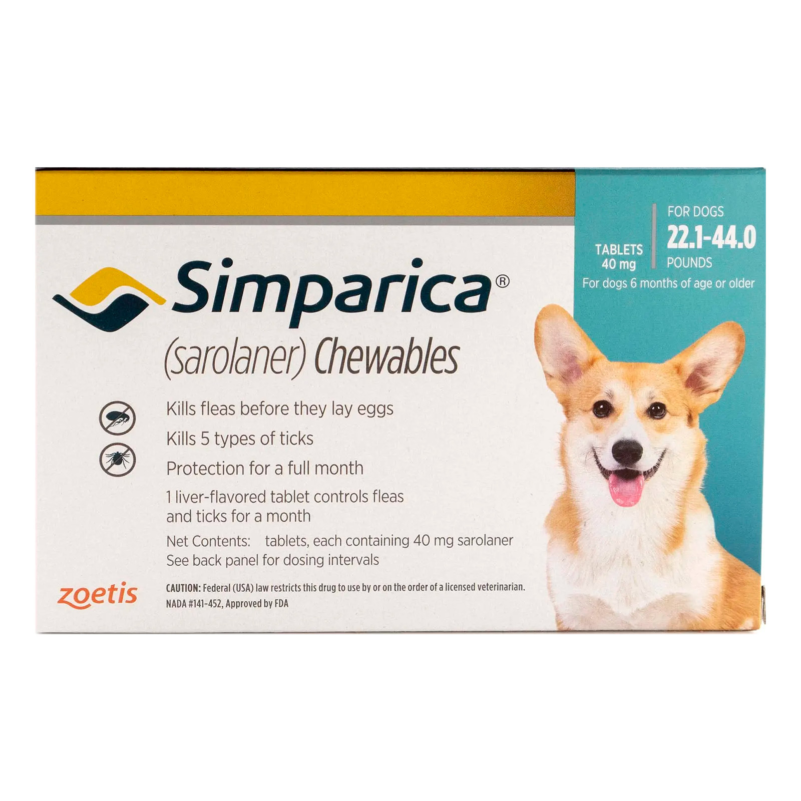 Simparica For Dogs 22.1-44 Lbs (Blue) 6 Doses
