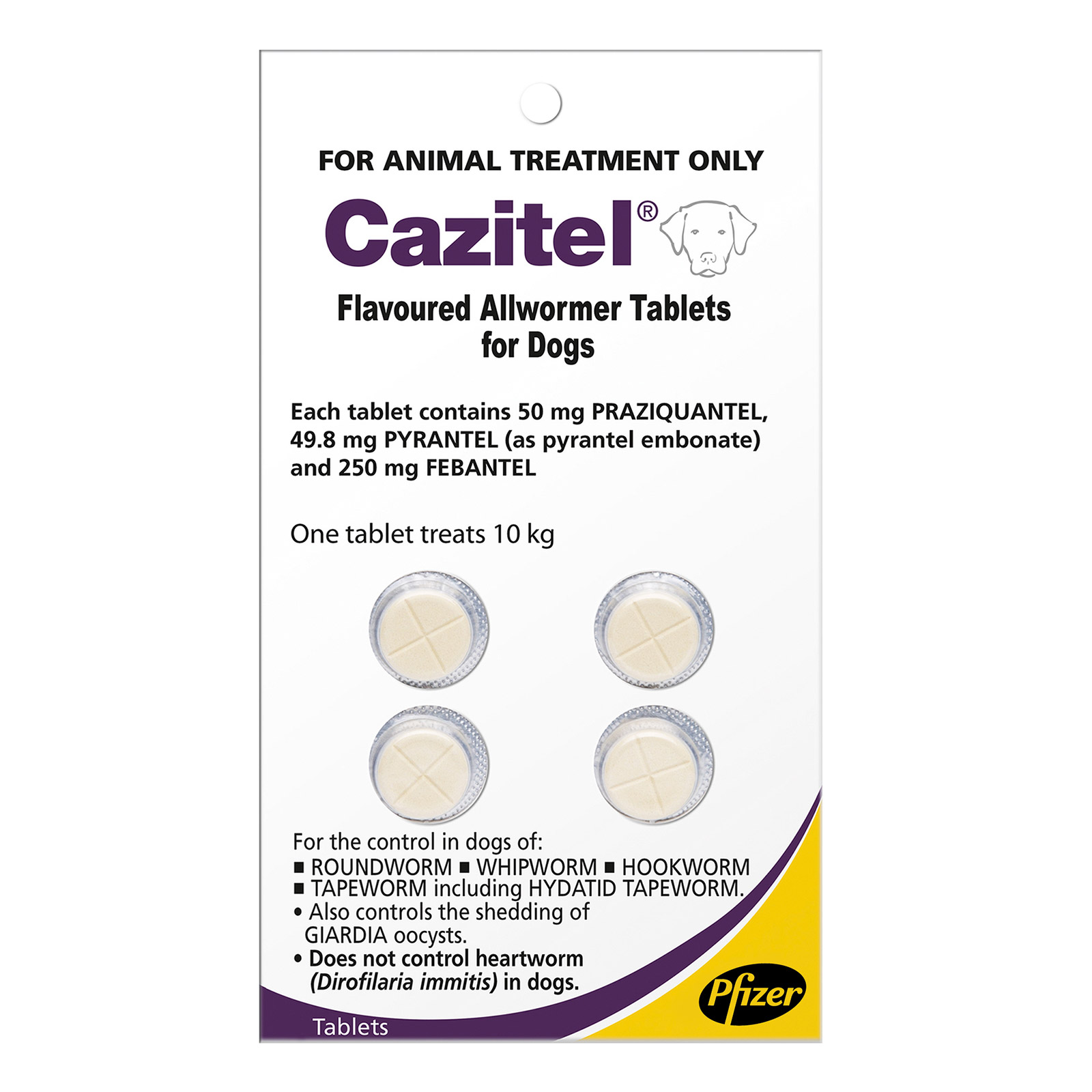 Cazitel Flavoured Allwormer For Small Dogs 22 Lbs. 2 Tablet