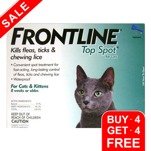 Frontline Top Spot Cats Green 4 + 4 Free
