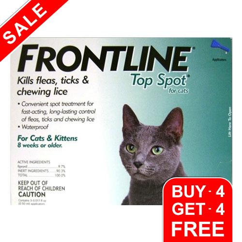 BudgetPetCare.com - Frontline Top Spot Cats Green 4 + 4 Free 49.99 USD