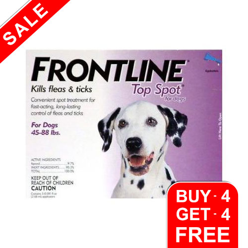 Frontline Top Spot Large Dogs 45-88lbs Purple 4 + 4 Free