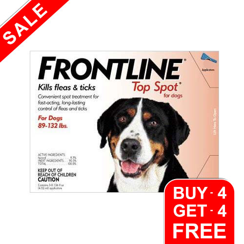 Frontline Top Spot Extra Large Dogs 89-132lbs Red 4 + 4 Free