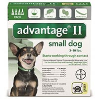 Advantage II Small Dogs/ Pups 1-10lbs (Green)