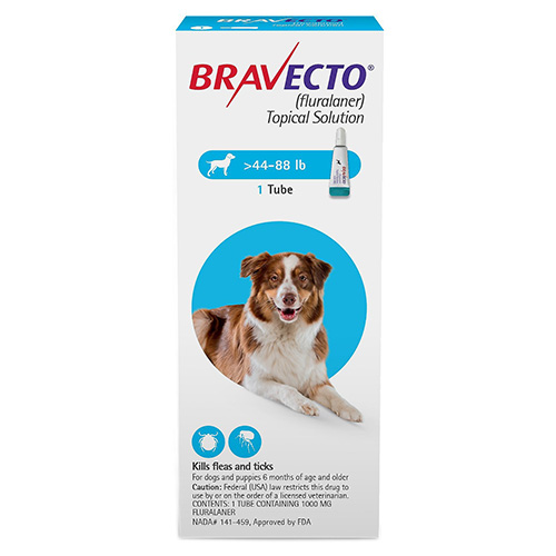 Budget Pet Care coupon: Bravecto Topical For Large Dogs 44 - 88 Lbs Blue 1 Doses
