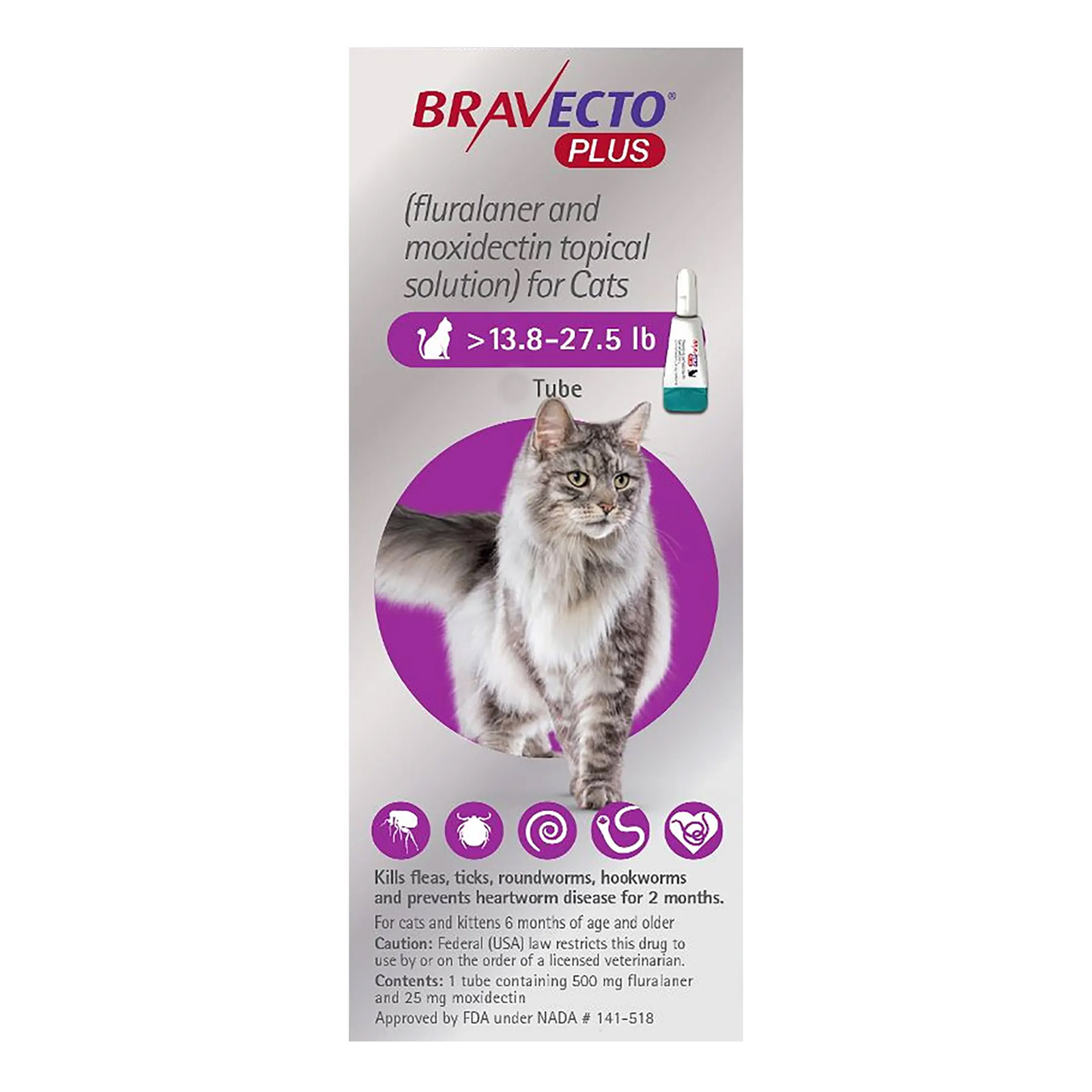 Bravecto plus spot on for large cat 6.25 up to 12.5kg purple