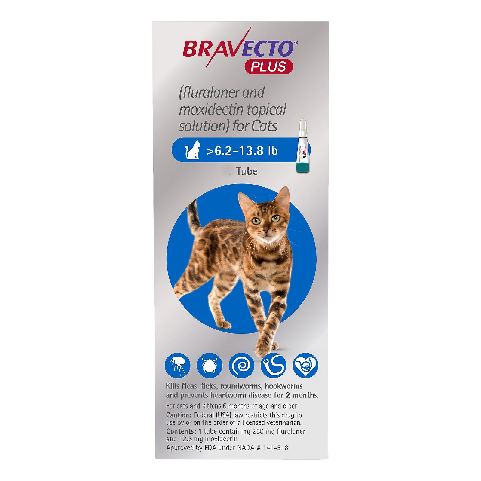 Bravecto Plus For Medium Cats 6.2 To 13.75 Lbs Blue 2 Doses