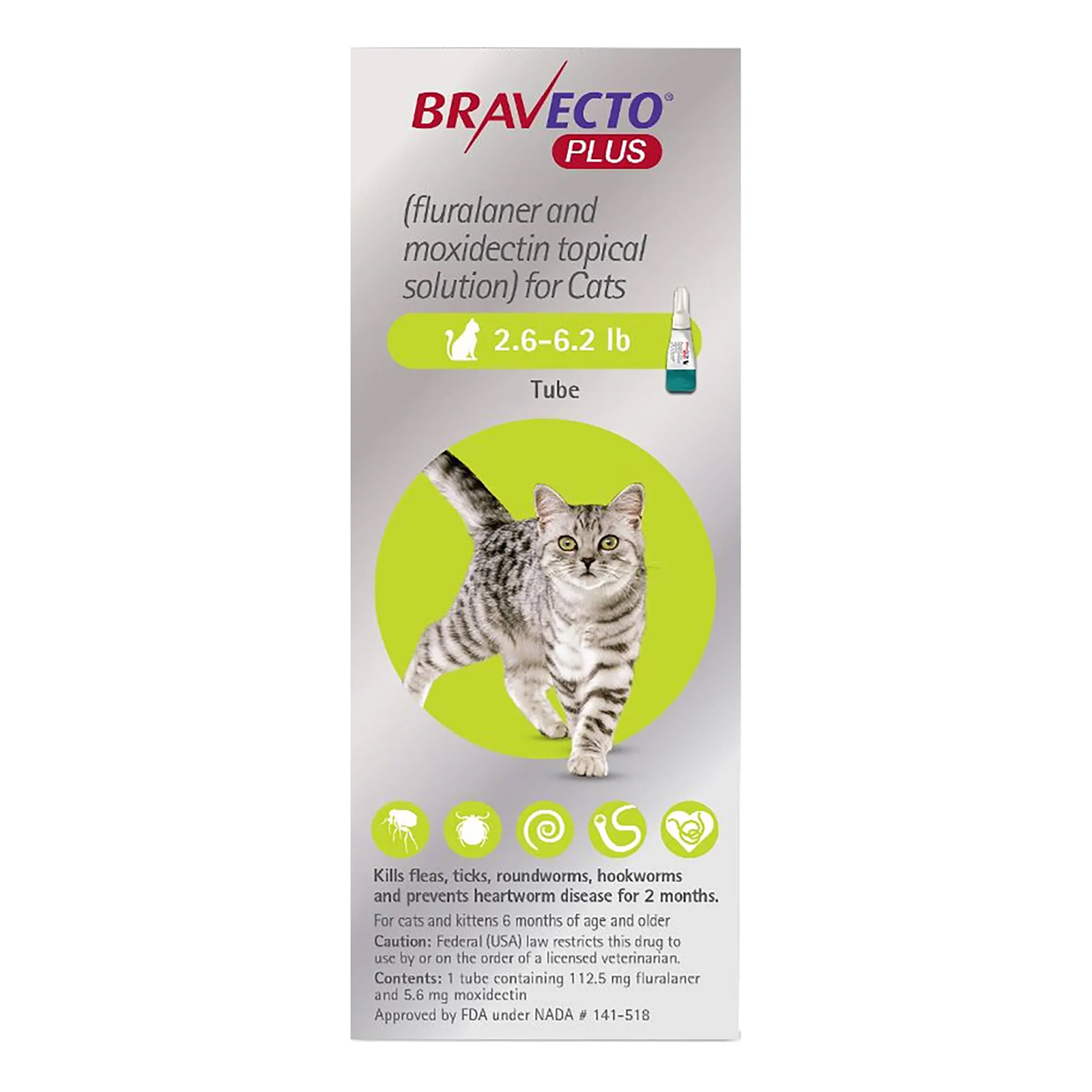 Bravecto Plus For Small Cats 2.6 To 6.2 Lbs Green 1 Dose