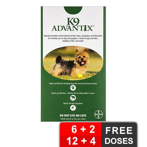 K9 Advantix Small Dogs/Pups 1-10 Lbs Green 12 + 4 Free Pet Pest & Medical Supplies