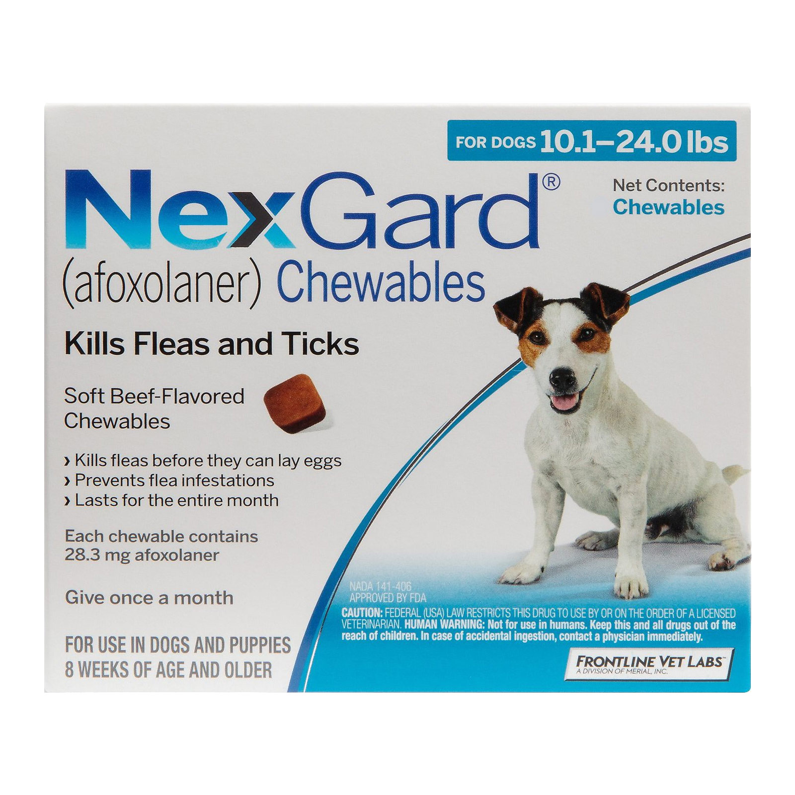 Nexgard Chewables for Medium Dogs 10.1-24 lbs (Blue) 28mg