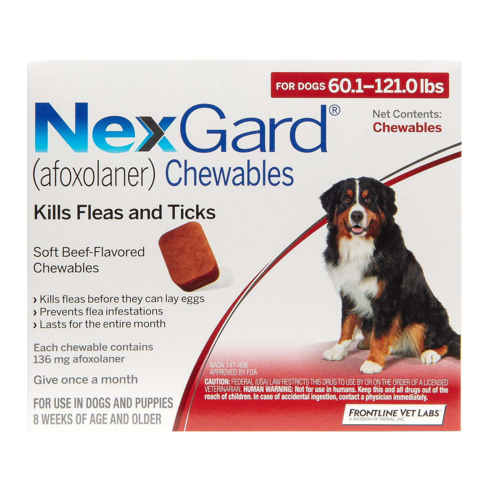 Nexgard Chewables For Extra Large Dogs 60.1-120 Lbs Red 136mg 6 Chews