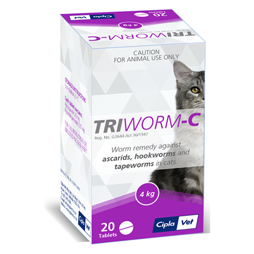 Triworm-C Dewormer For Cats 4 Tablet