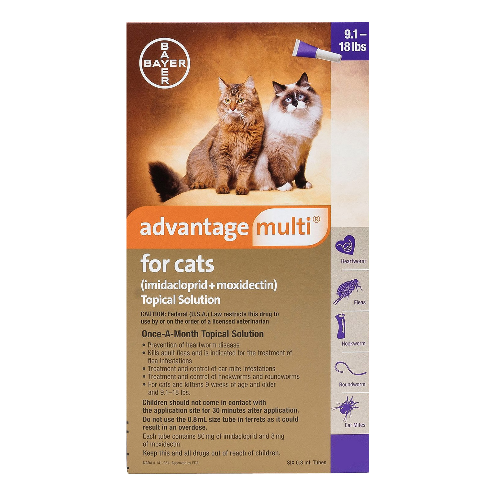 Advantage Multi Advocate Cats Over 10lbs Purple 12 Doses