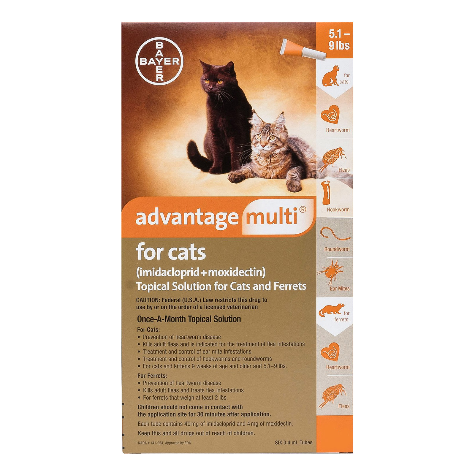Advantage Multi Advocate Kittens & Small Cats Up To 10lbs Orange 12 Doses