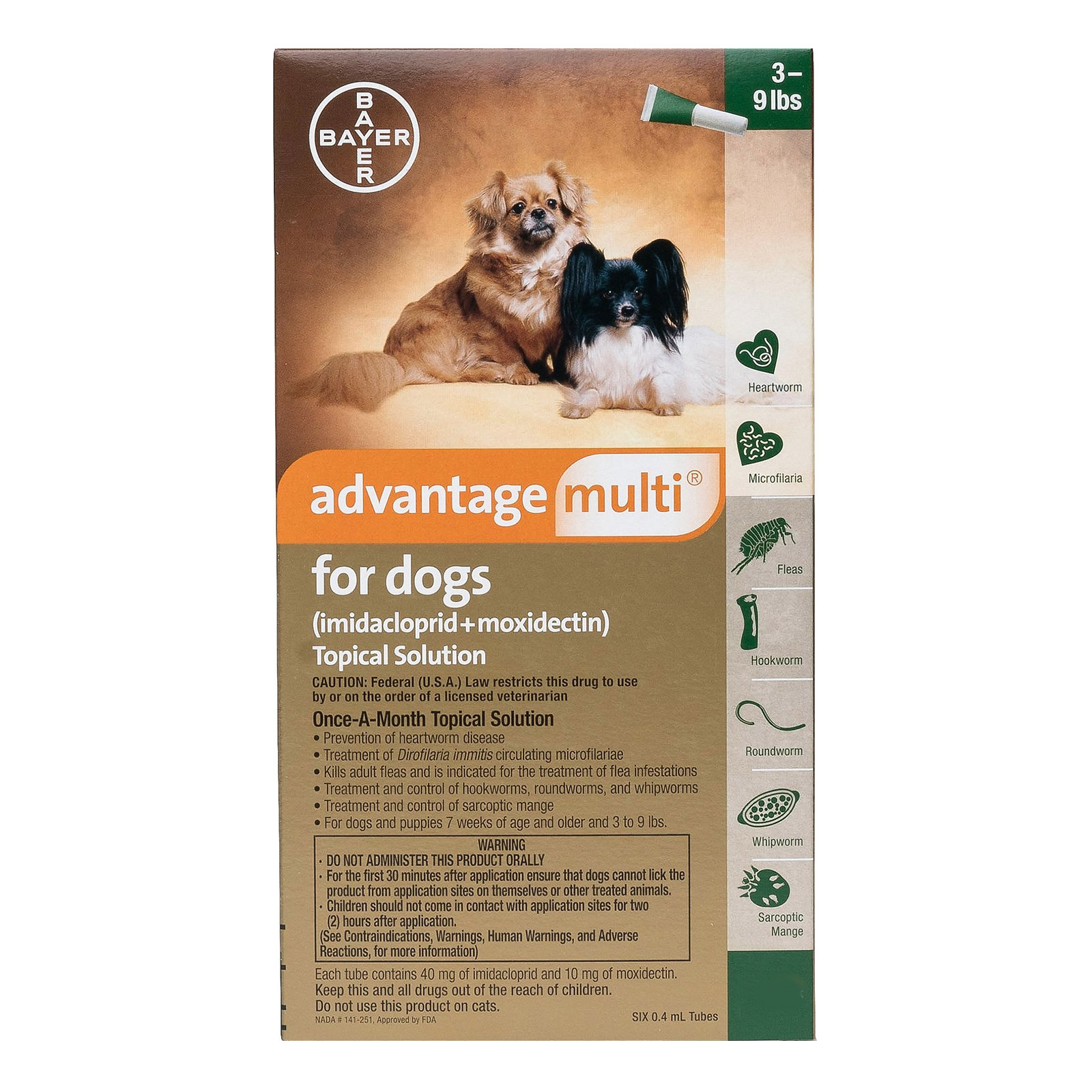 Advantage Multi Advocate Small Dogs 3-9 Lbs Green 12 Doses