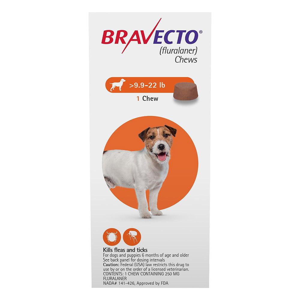 Bravecto For Small Dogs 9.9-22lbs Orange 1 Chews