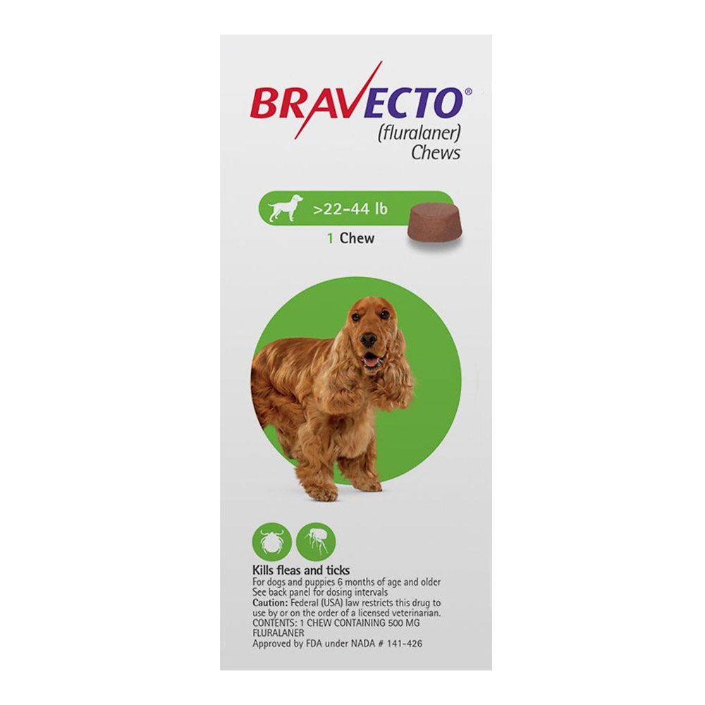 Bravecto 500mg 22 44lbs 1 soft chews 4 green
