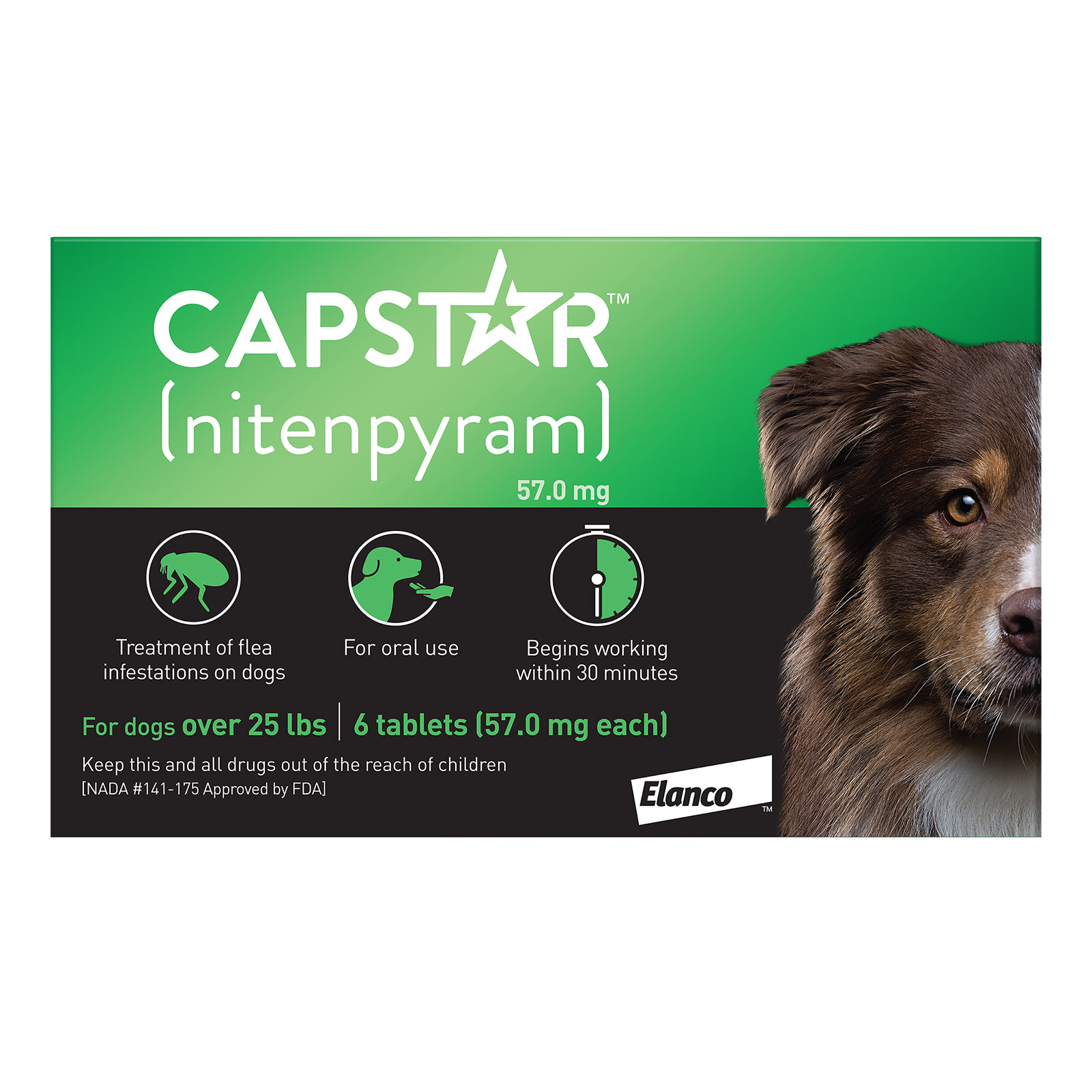 Capstar Green For Dogs 25.1 - 125 Lbs 6 Tablet