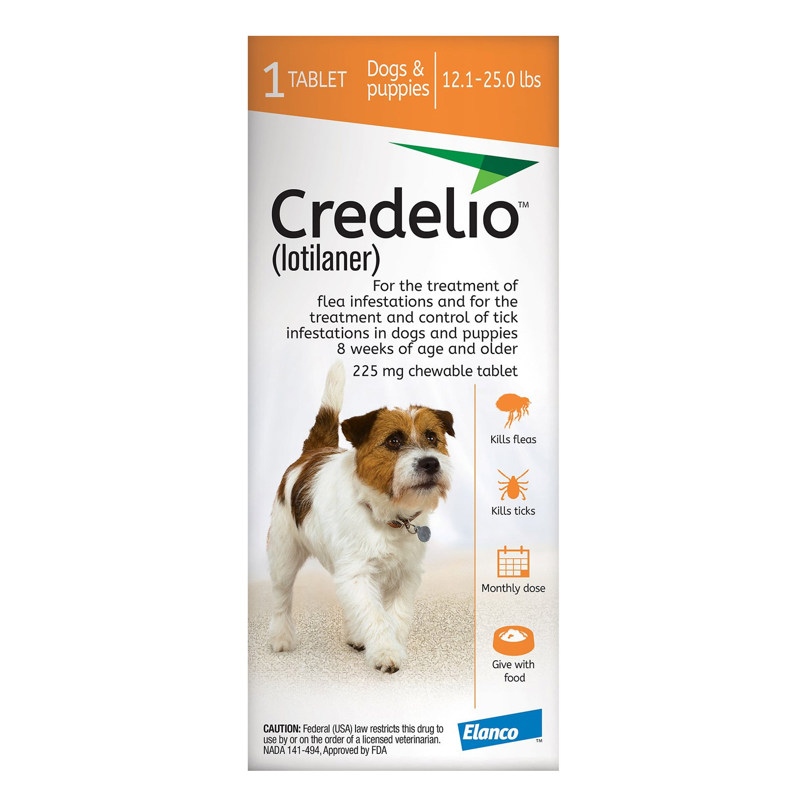 Credelio for dogs 12 to 25 lbs 225mg orange