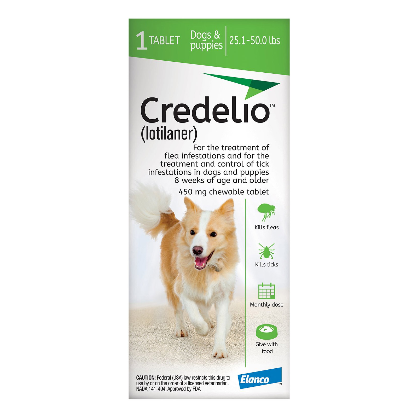 Credelio for dogs 25 to 50 lbs 450mg green