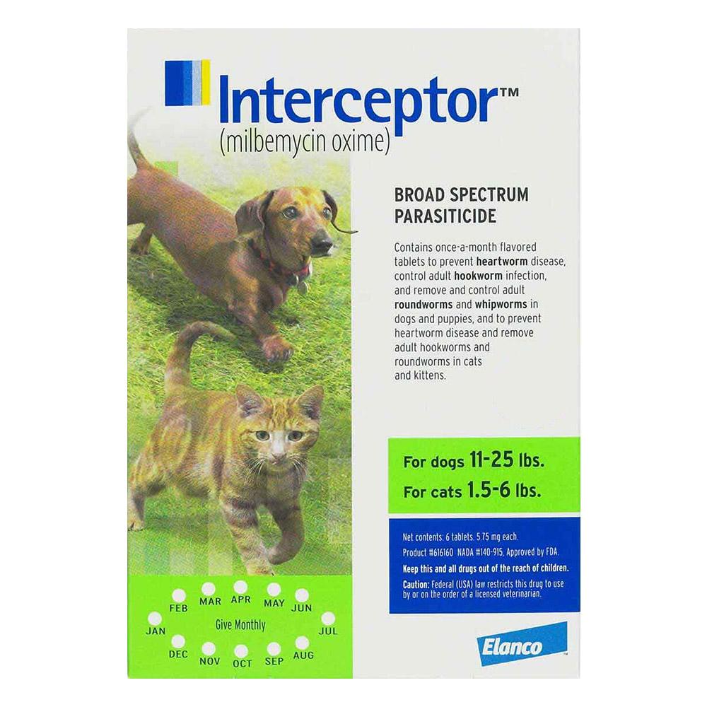 Interceptor For Small Dogs 11-25 Lbs Green 12 Chews