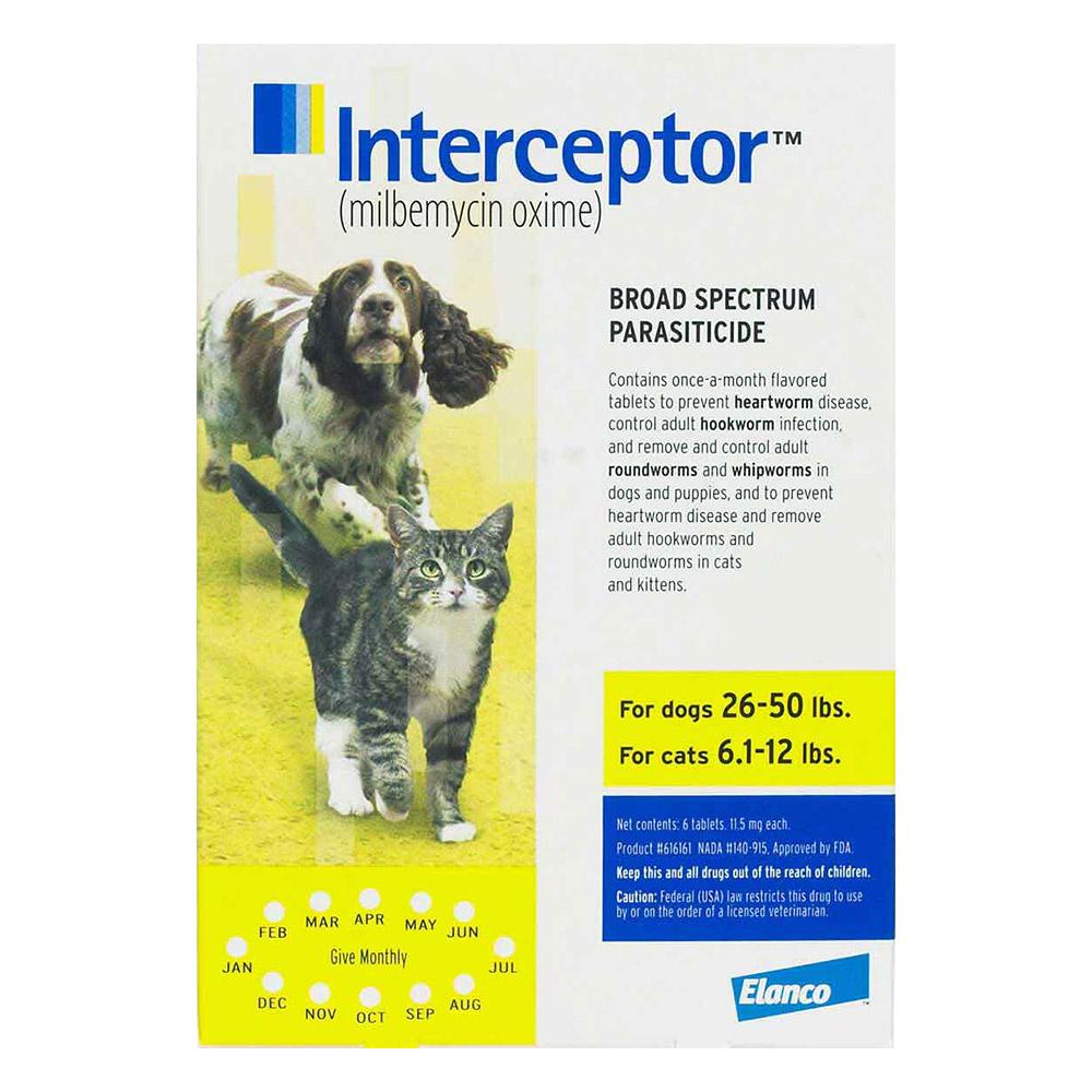 Interceptor For Medium Dogs 26-50 Lbs Yellow 12 Chews