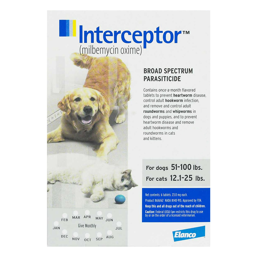 Interceptor for dogs 51 100 lbs white