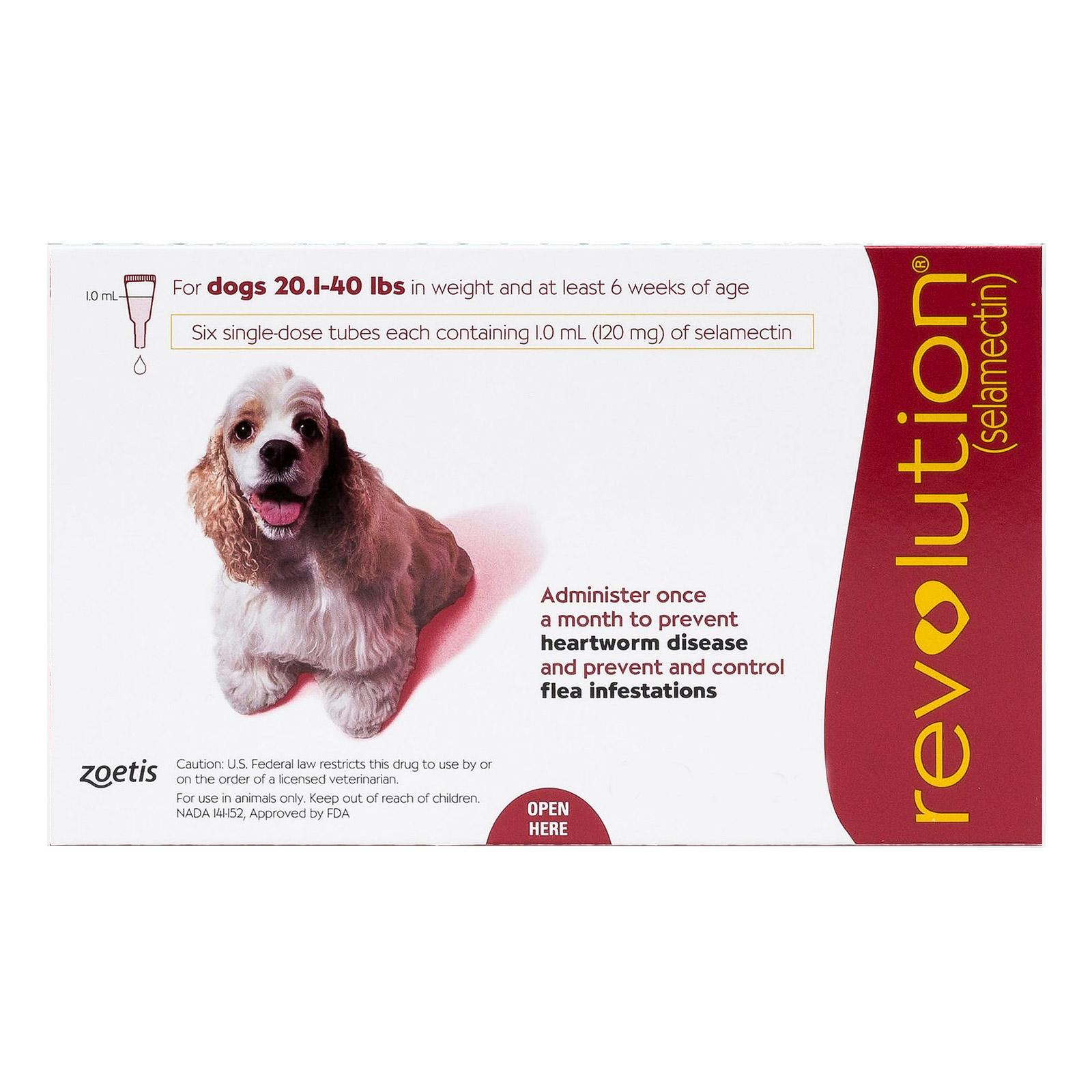 Revolution for medium dogs 20 1 40lbs red