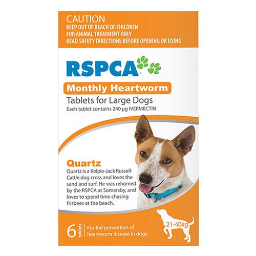 """""""Rspca Heartworm Tablets Large Dog 45-88lb Orange, 21-40kg 6 Tablet"""""""