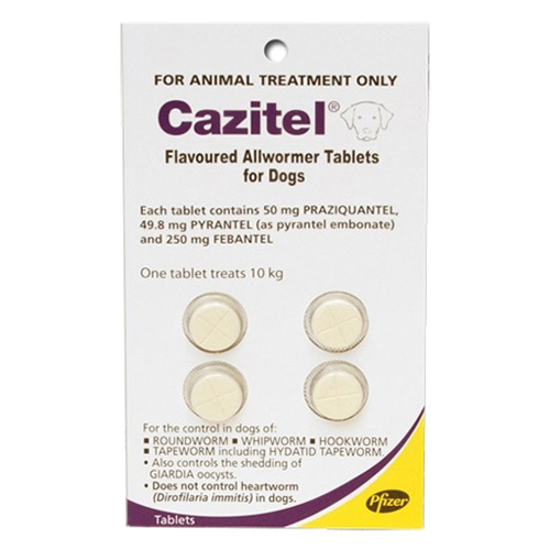 Buy Pfizer's Cazitel allwormer tablets for dogs online. Cazitel Allwormers Tabs gives a long lasting protection to canines against 12 kind of worms.