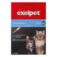 Exelpet Intestinal All-wormer for Cats is given as a single oral dosage. Buy Exelpet All-Wormer Paste for Cats and kittens to control of gastrointestinal worms in cats and kittens in form of deWorming tabs online.