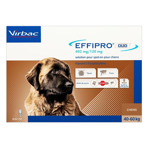 Effipro DUO spot-on for dogs is a long lasting protection from fleas and ticks. The spot-on solution destroys adult fleas, ticks and flea eggs. The topical treatment prevents flea and tick infested diseases for one month.