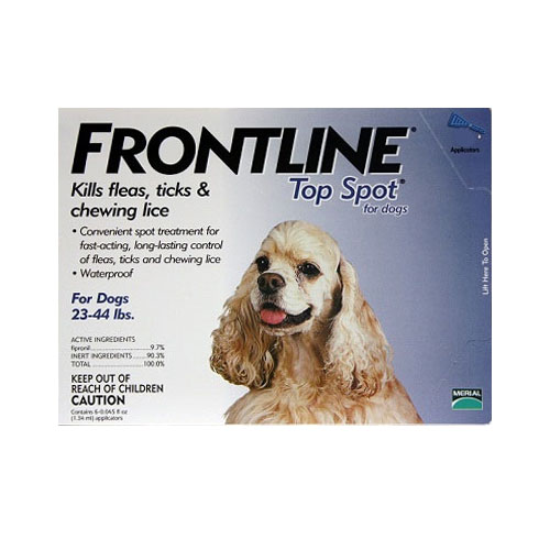 Frontline Top Spot topical treatment for fleas & ticks in small to large dogs. Frontline Top Spot protects against both fleas and ticks, killing all fleas and ticks on your pet within 24 hours and preventing re-infestations.