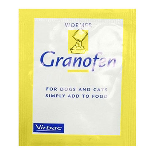 Granofen is a broad spectrum wormer for the treatment of puppies, dogs, kittens and cats. Granofen wormer granules kills various types of roundworms, lungworms and all breeds of tapeworms.