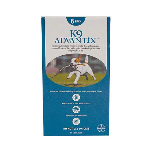 K9 Advantix Medium Dogs 11-20 lbs (Aqua) 6 + 2 FREE