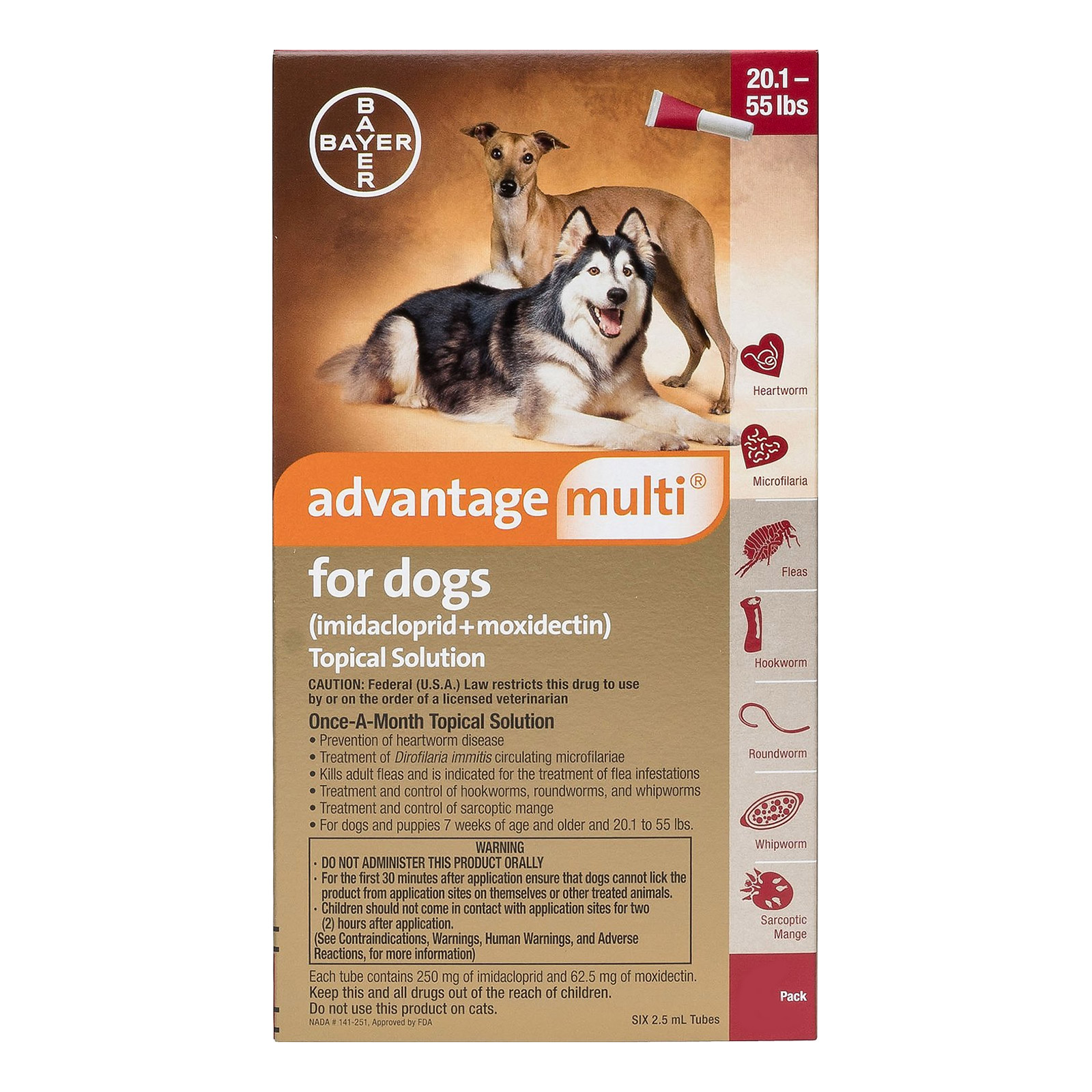 Advantage Multi (Advocate) Large Dogs 20.1-55 lbs (Red) 12 DOSES