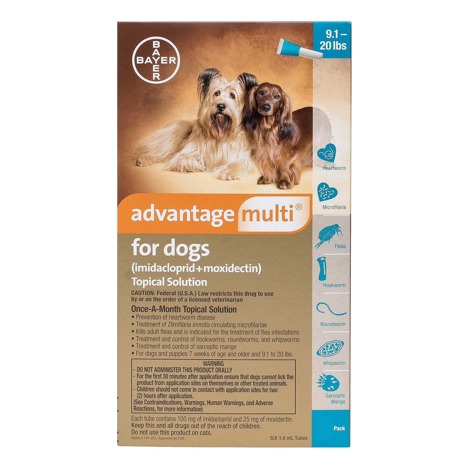 Advantage Multi (Advocate) Medium Dogs 9.1-20 lbs (Aqua) 12 DOSES