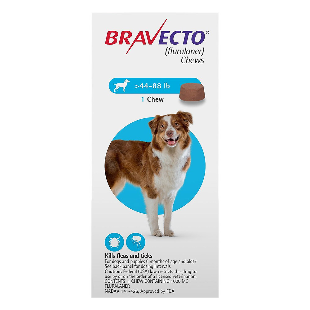 Bravecto for Large Dogs 44-88lbs (Blue) 1 CHEWS