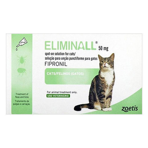 Eliminall Spot on Cat is an effective treatment and prevention of flea and tick infestations in cats. Fleas will be killed within 24 hours for quick relief. Buy Eliminall Spot on Cat for protection at lowest price and also avail free shipping in USA.