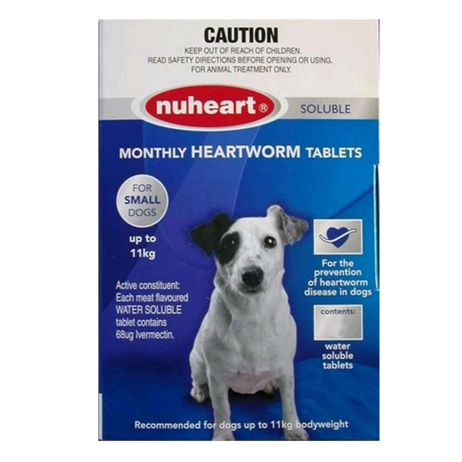 Heartgard Plus Generic Nuheart Small Dogs upto 25lbs (Blue) 6 TABLET