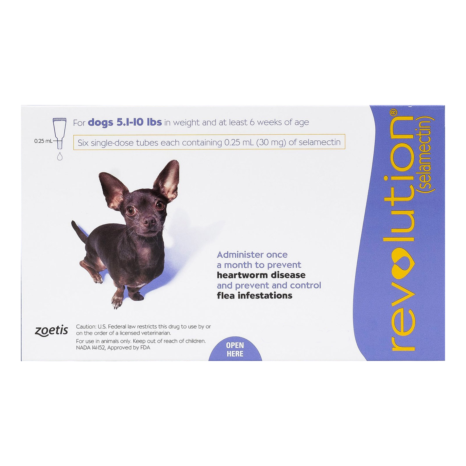 Revolution for very small dogs 5 1 10 lbs purple
